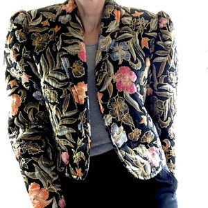 Vintage Quilted Silk painted cropped Jacket